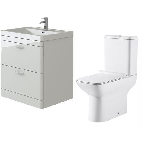VeeBath Cyrenne White Floor Standing 800mm Vanity Basin Unit & Geneve Toilet Set