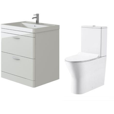 VeeBath Cyrenne White Floor Standing 800mm Vanity Basin Unit & Milan Toilet Set