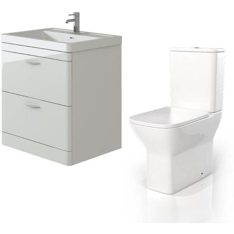 VeeBath Cyrenne White Floor Standing 800mm Vanity Basin Unit & Venice CC Toilet
