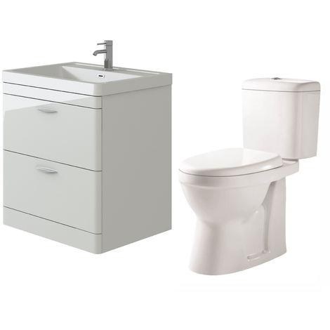 VeeBath Cyrenne White Floor Standing 800mm Vanity Basin Unit & Verona CH Toilet Set