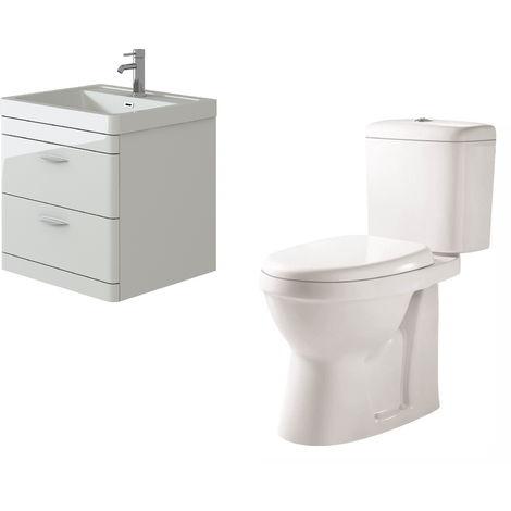 VeeBath Cyrenne White Wall Mounted 600mm Vanity Basin Unit & Verona CH Toilet
