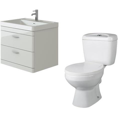 """main image of """"VeeBath Cyrenne White Wall Mounted 700mm Vanity Basin Unit & Base Toilet Set"""""""