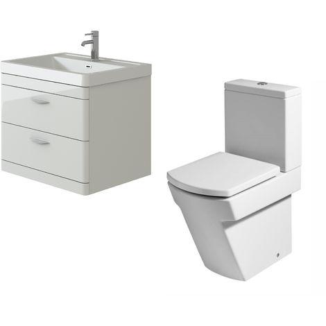"main image of ""VeeBath Cyrenne White Wall Mounted 700mm Vanity Basin Unit & Elstra Toilet Set"""