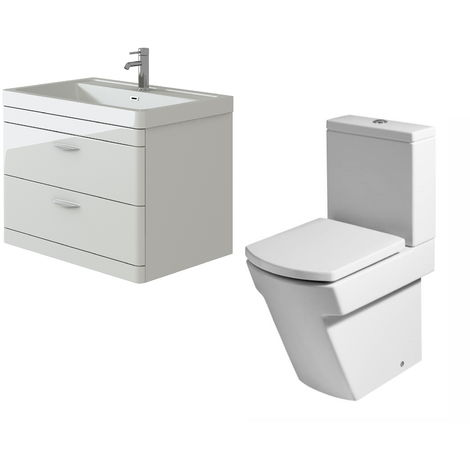 VeeBath Cyrenne White Wall Mounted 800mm Vanity Basin Unit & Elstra Toilet Set