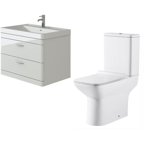 VeeBath Cyrenne White Wall Mounted 800mm Vanity Basin Unit & Geneve Toilet Set