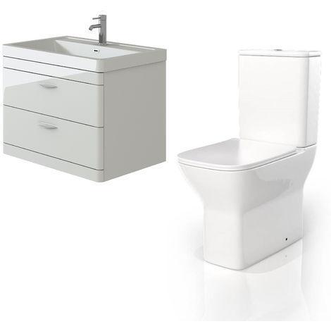 VeeBath Cyrenne White Wall Mounted 800mm Vanity Basin Unit & Venice CC Toilet