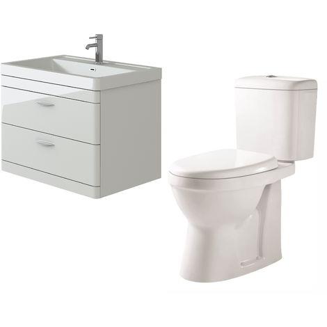 VeeBath Cyrenne White Wall Mounted 800mm Vanity Basin Unit & Verona CH Toilet Set
