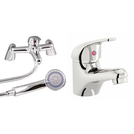 VeeBath Egham Bath Basin Taps Set Designer Chrome Sink Tap & Bath Shower Mixer