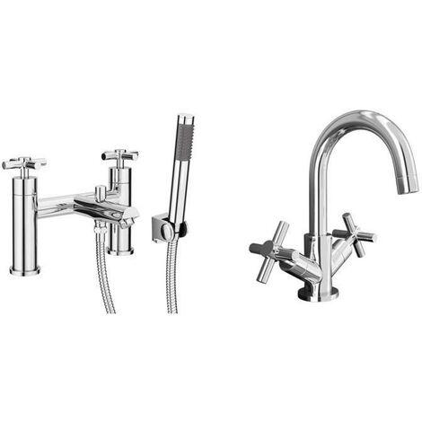 VeeBath Elmbridge Bath Basin Taps Designer Chrome Sink Tap & Bath Shower Mixer