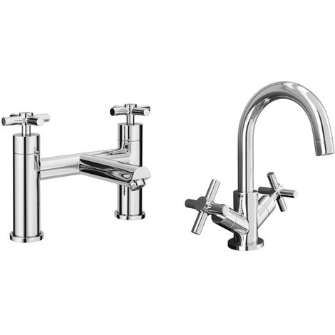 VeeBath Elmbridge Bath Basin Taps Set Designer Chrome Sink Mixer & Bath Filler