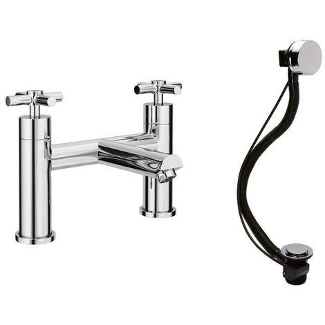 VeeBath Elmbridge Tec Crosshead Brass Bath Filler Mixer Taps & Bath Pop-up Waste
