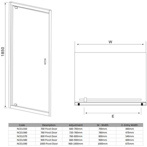 VeeBath Fenwick Pivot Shower Door Enclosure