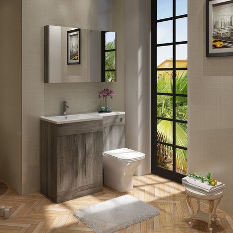 VeeBath Gamma L Shape Avola Grey Bathroom Vanity & BTW Toilet Unit LH - 1100mm