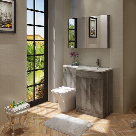 VeeBath Gamma L Shape Avola Grey Bathroom Vanity & BTW Toilet Unit rH - 1100mm