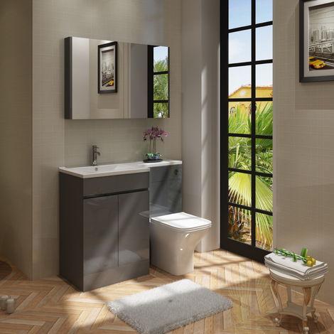 VeeBath Gamma L Shape Grey Gloss Bathroom Vanity & BTW Toilet Unit LH - 1100mm