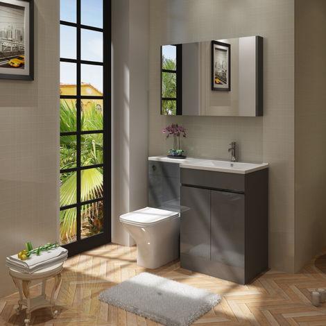 VeeBath Gamma L Shape Grey Gloss Bathroom Vanity & BTW Toilet Unit rH - 1100mm