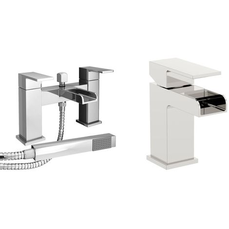VeeBath Kinross Bath Basin Taps Set Designer Chrome Sink Tap & Bath Shower Mixer