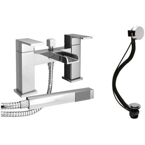 VeeBath Kinross Square Waterfall Bath Filler Shower Mixer & Bath Pop-up Waste