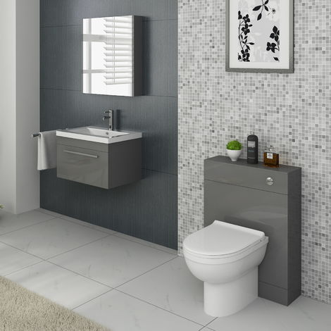 VeeBath Lapis Grey Vanity Basin Unit & Back To Wall WC Toilet Bathroom Furniture