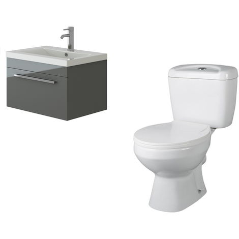 VeeBath Lapis Wall Hung Grey Gloss Vanity Basin Cabinet Unit & Base Toilet Set