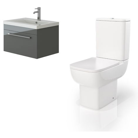VeeBath Lapis Wall Hung Grey Gloss Vanity Basin Cabinet Unit & Florence Toilet