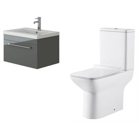VeeBath Lapis Wall Hung Grey Gloss Vanity Basin Cabinet Unit & Geneve Toilet Set
