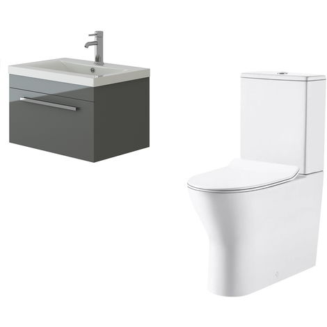VeeBath Lapis Wall Hung Grey Gloss Vanity Basin Cabinet Unit & Milan Toilet Set