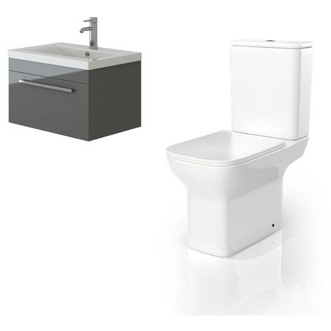 VeeBath Lapis Wall Hung Grey Gloss Vanity Basin Cabinet Unit & Venice CC Toilet