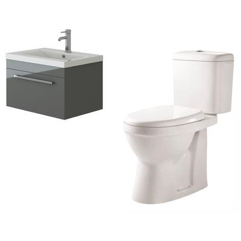 VeeBath Lapis Wall Hung Grey Gloss Vanity Basin Cabinet Unit & Verona Toilet Set