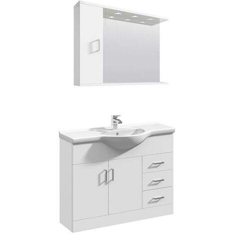 VeeBath Linx 1050mm Floor Standing Vanity Unit & Mirror Cabinet Bathroom Set
