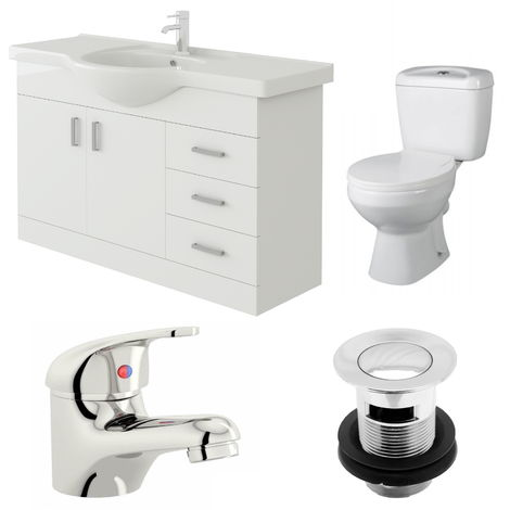 VeeBath Linx 1050mm Vanity Unit Base Close Coupled Toilet & Basin Mixer Tap