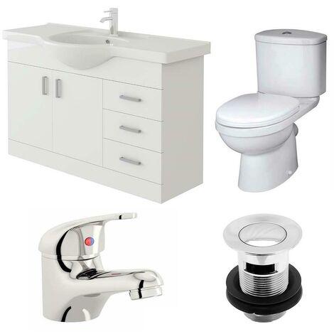VeeBath Linx 1050mm Vanity Unit Sleek Close Coupled Toilet & Basin Mixer Tap