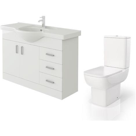 VeeBath Linx 1050mm White Gloss Floor Vanity Basin Cabinet & Florence Toilet