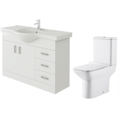VeeBath Linx 1050mm White Gloss Floor Vanity Basin Cabinet & Geneve Toilet Set