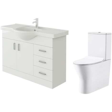 VeeBath Linx 1050mm White Gloss Floor Vanity Basin Cabinet & Milan Toilet Set