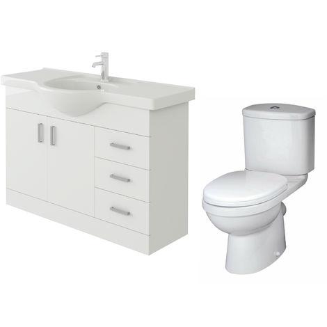 VeeBath Linx 1050mm White Gloss Floor Vanity Basin Cabinet & Sleek Toilet Set