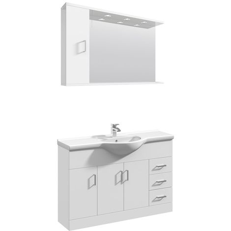 VeeBath Linx 1200mm Floor Standing Vanity Unit & Mirror Cabinet Bathroom Set