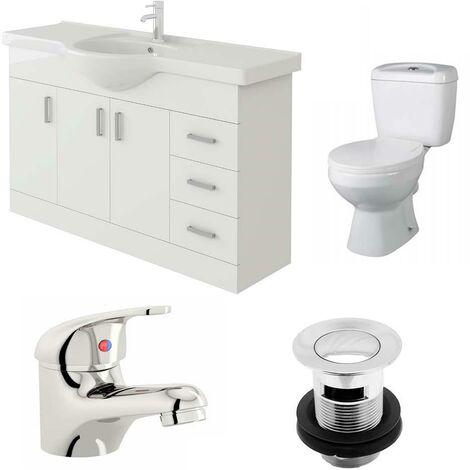 VeeBath Linx 1200mm Vanity Unit Base Close Coupled Toilet & Basin Mixer Tap