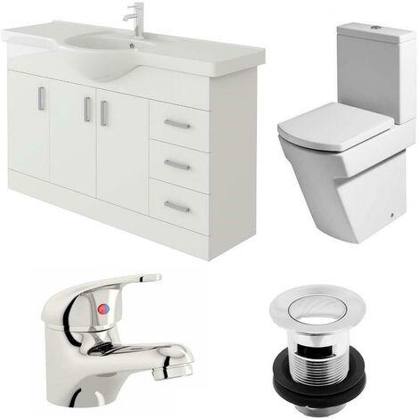 VeeBath Linx 1200mm Vanity Unit Elstra Close Coupled Toilet & Basin Mixer Tap
