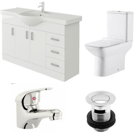 VeeBath Linx 1200mm Vanity Unit Geneve Close Coupled Toilet & Basin Mixer Tap