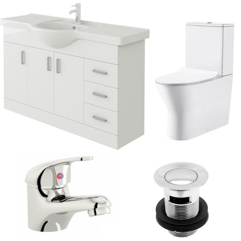 VeeBath Linx 1200mm Vanity Unit Milan Close Coupled Toilet & Basin Mixer Tap