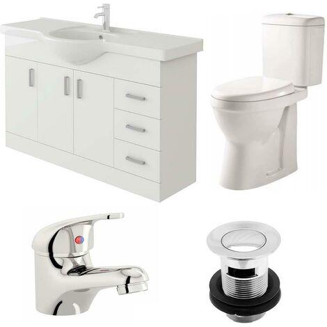 VeeBath Linx 1200mm Vanity Unit Verona Close Coupled Toilet & Basin Mixer Tap
