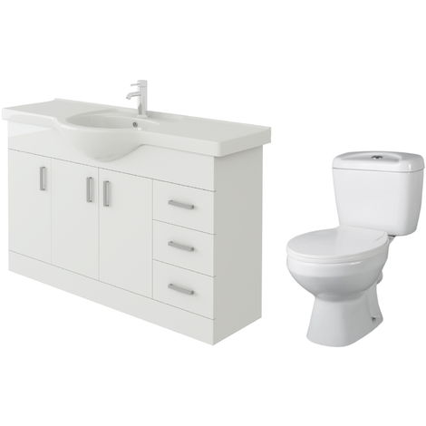 VeeBath Linx 1200mm White Gloss Floor Vanity Basin Cabinet & Base Toilet Set