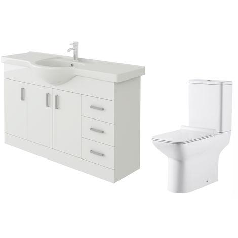 VeeBath Linx 1200mm White Gloss Floor Vanity Basin Cabinet & Geneve Toilet Set