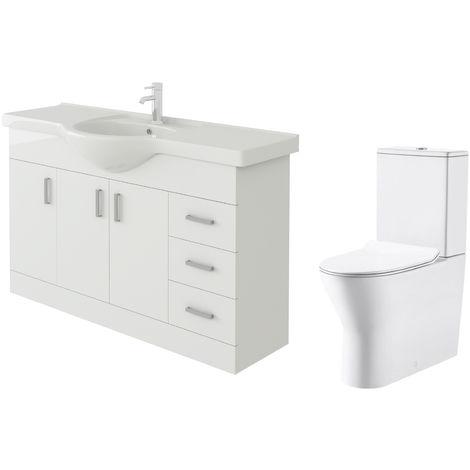 VeeBath Linx 1200mm White Gloss Floor Vanity Basin Cabinet & Milan Toilet Set