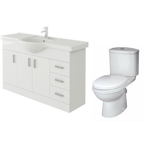 VeeBath Linx 1200mm White Gloss Floor Vanity Basin Cabinet & Sleek Toilet Set