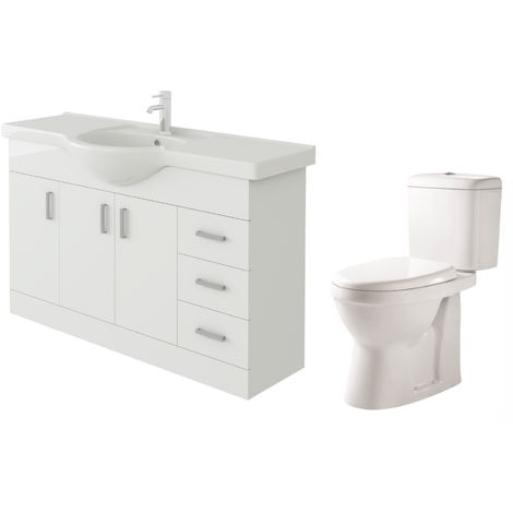 VeeBath Linx 1200mm White Gloss Floor Vanity Basin Cabinet & Verona Toilet Set