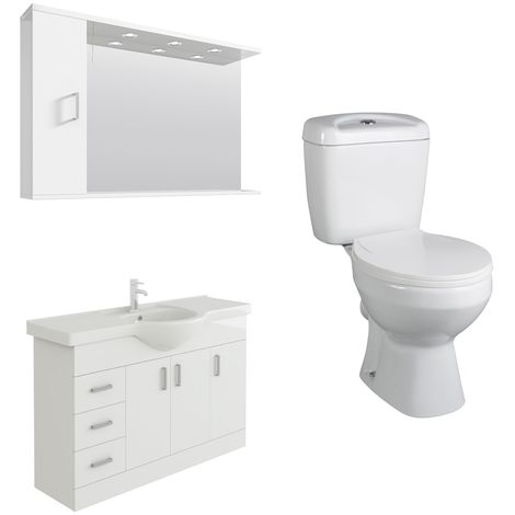 VeeBath Linx 1200mm White Vanity Basin Unit, Base Toilet & Wall Mirror Cabinet