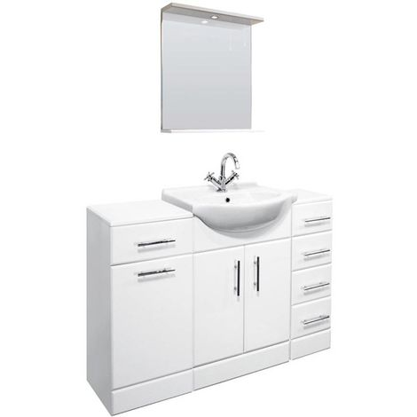 VeeBath Linx 1250mm Vanity Unit Bathroom Furniture Combo Set and Storage Cabinet