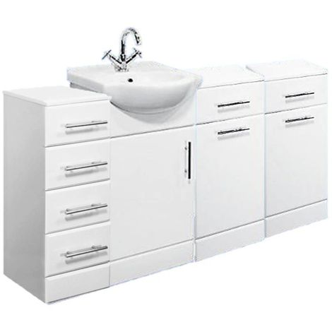 VeeBath Linx 1400mm Vanity Unit Bathroom Furniture Combo Set and Storage Cabinet